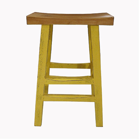 Pop of Color Bright yellow Painted Wooden Stool with Comfortable Natural Wood Tone Curved Seat