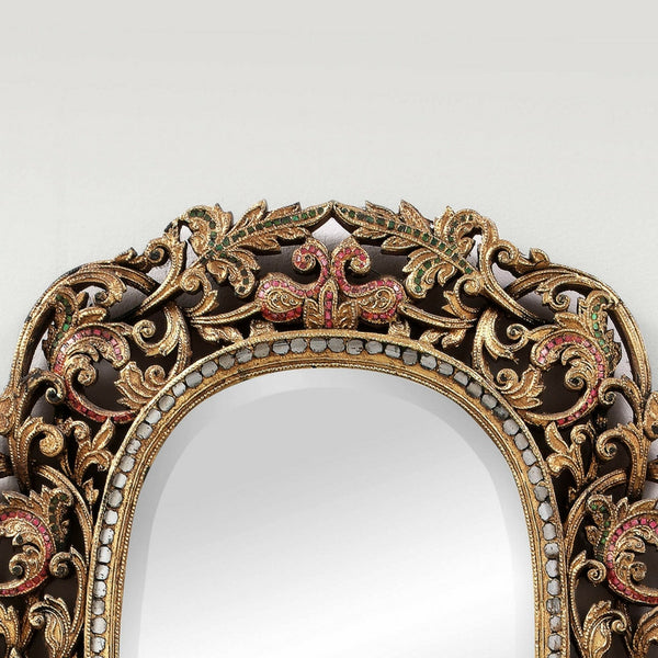Floral Ornate Hand Cut Glass Mirror
