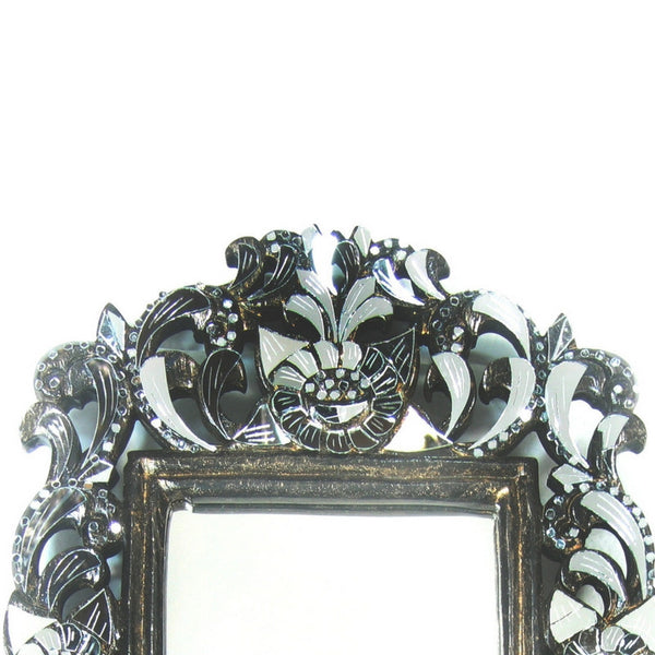Small Mirror with Large Ornate Carved Teak and hancut Glass Frame