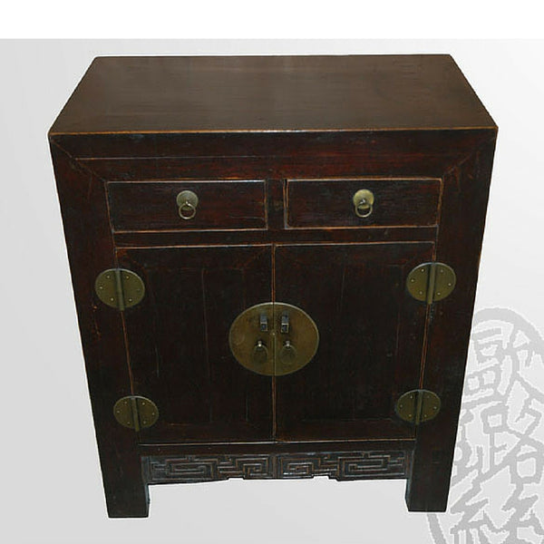 Chinese Dark Wood Cabinet with Drawers