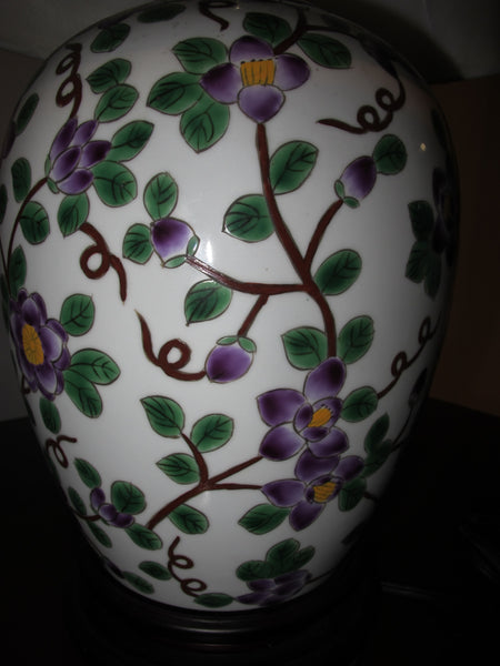 Purple Motif Porcelain Lamp