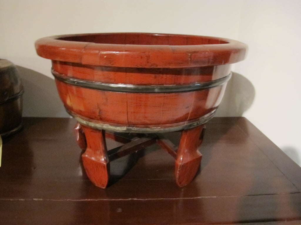 Red Wooden Baby Basin