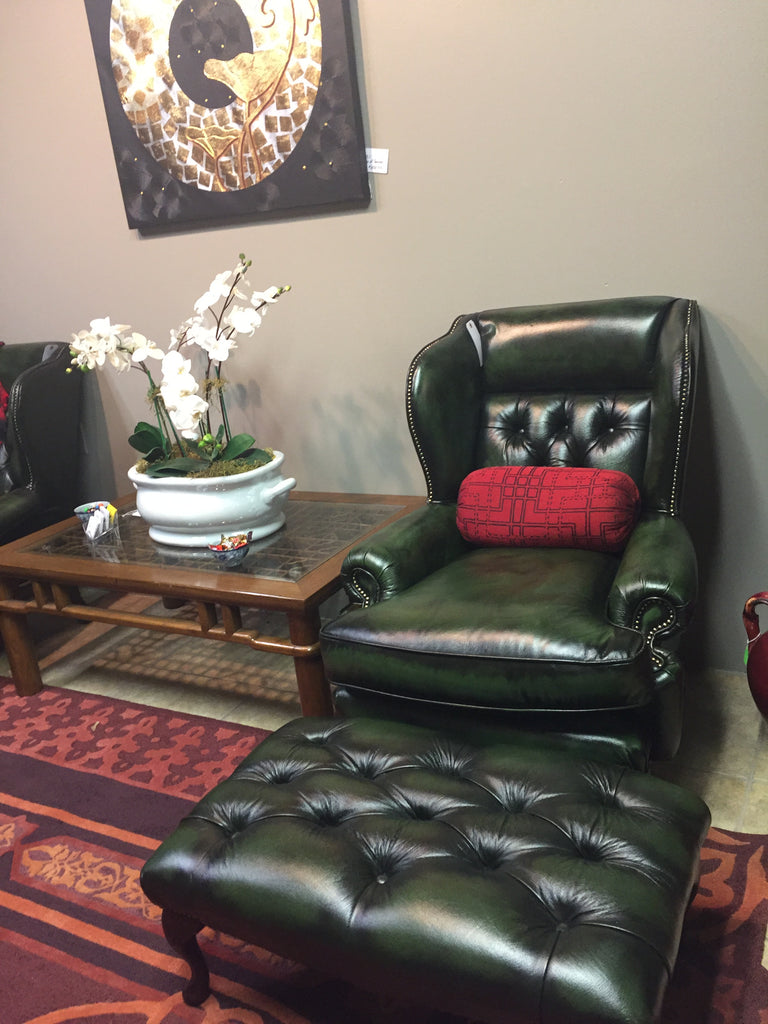 Osborne Antique Green Leather Chair