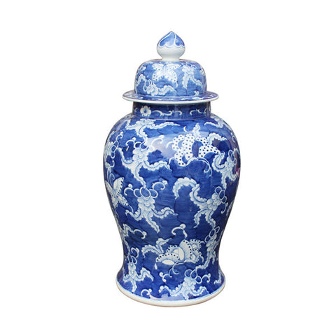 Blue and White Chinese Temple Jar with Lid