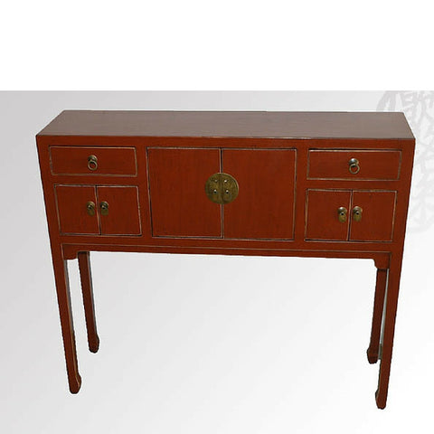 Chinese Antique Red Art Deco Desk with Drawers and Cabinets