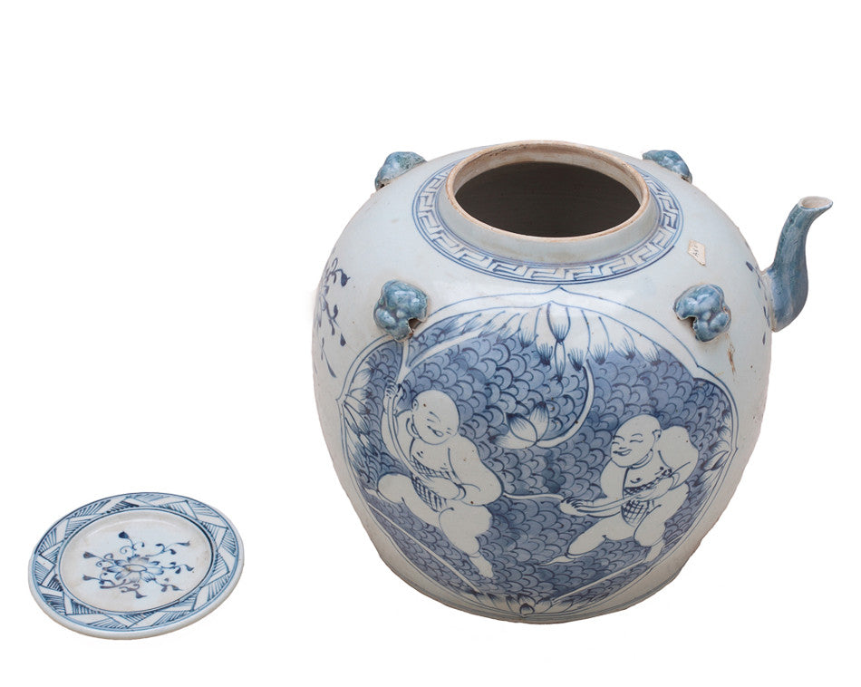 Blue and White Tea Pot