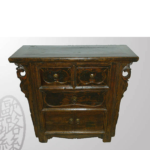 Unique Deep Wood Tone Chinese Antique Cabinet With Drawers And Carved  Spandrels