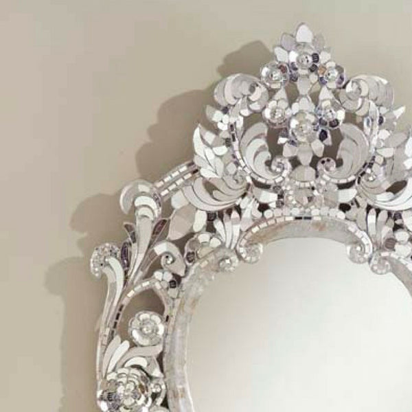Fancy Silver Handcut Glass Thai Mirrors