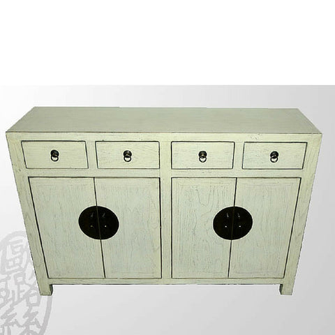 Chinese Off-white Wooden Painted Sideboard with Drawers and Cabinets