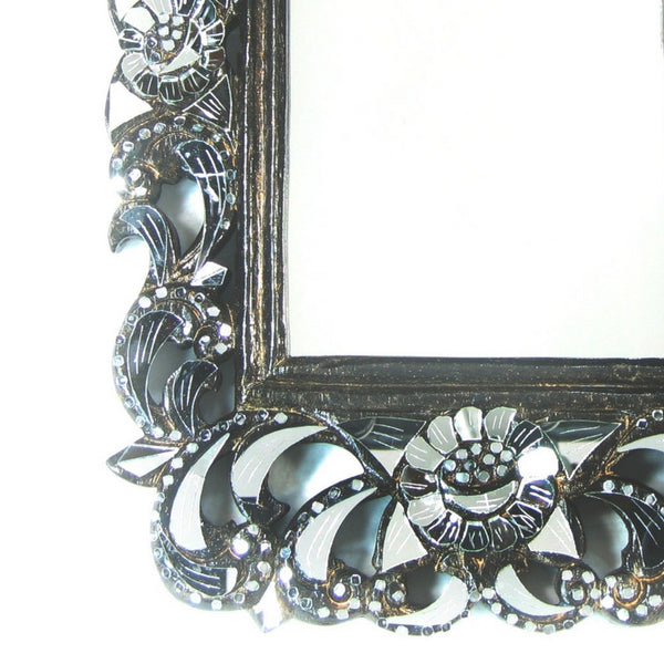 Rectangular Hand cut Glass and Carved teakwood Framed Mirror