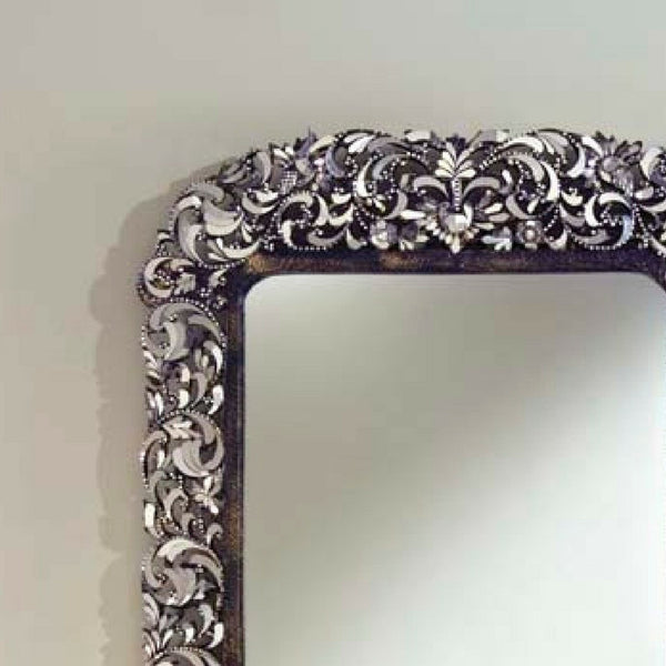 Ornate Carved Floral Designs on Large Rectangular Wall Mirror