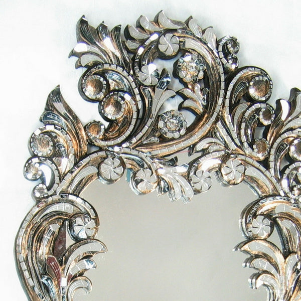 Fancy Scroll Mirror on Handcut Teak Wood