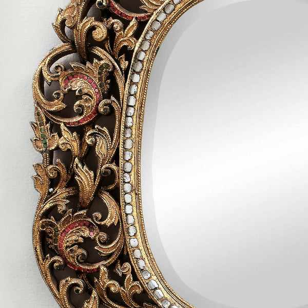 Decorated Oval Hand Cut Glass Mirror