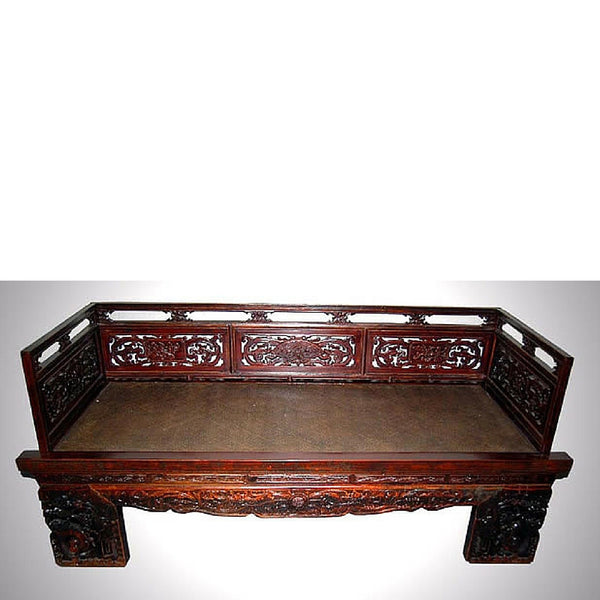 Chinese Antique Carved Wooden Daybed