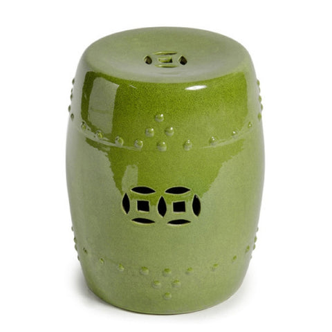Lime Green Glazed Ceramic Chinese Garden Stool