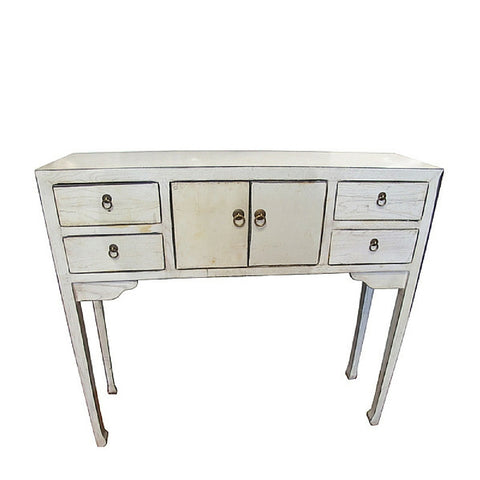 White Art Deco Desk with Four Drawers and Cabinet