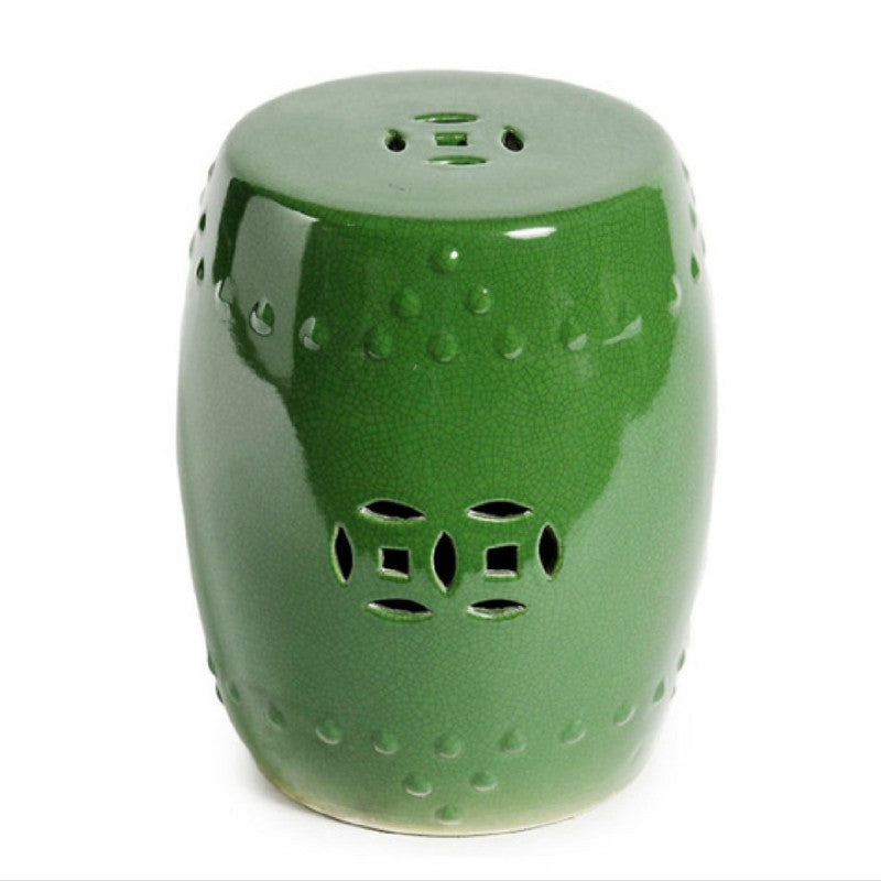 Green Crackle Garden Stool