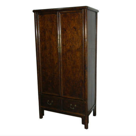 Chinese Antique Elm Wood Wooden Scroll Cabinet Refitted into Contemporary Armoire