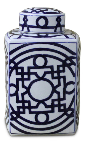 Blue and White Geometric Square Jar