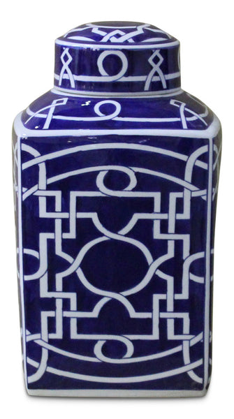 Blue and White Square Jar with Lid