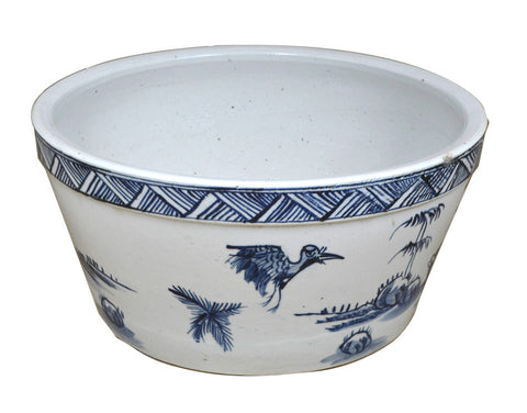 Blue and White Water Bowl/Bird Motif