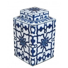 Square Blue and White Jar with Lid