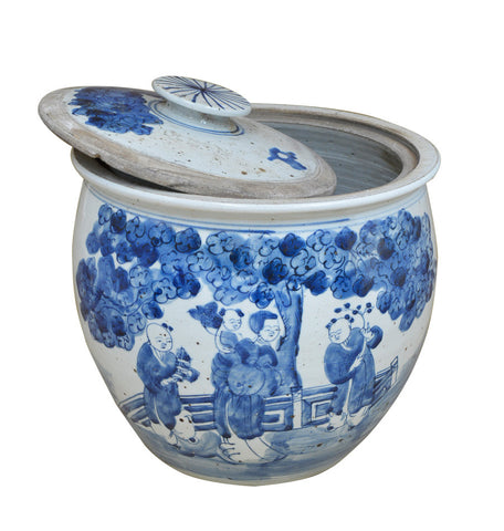 Blue and White Urn with Lid