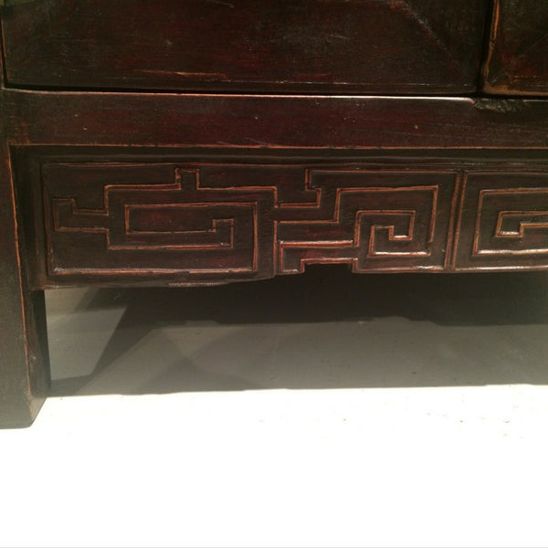 Dark Natural Wood Tone Chinese Antique Carved Cabinet