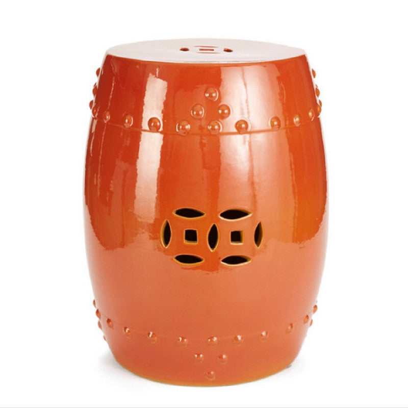 Orange Crackle Garden Stool