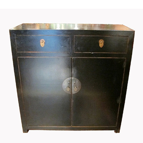 Antique Reproduction Small Black Cabinet with Drawers