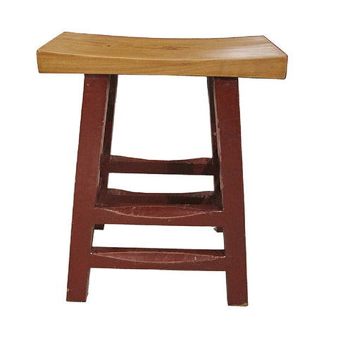 Medium Deep Red Painted Wooden Stool with Comfortable Curved Natural Wood Tone Seat