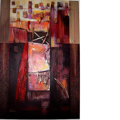 Mixed Memories Acrylic on Canvas Deep Red Thai Painting