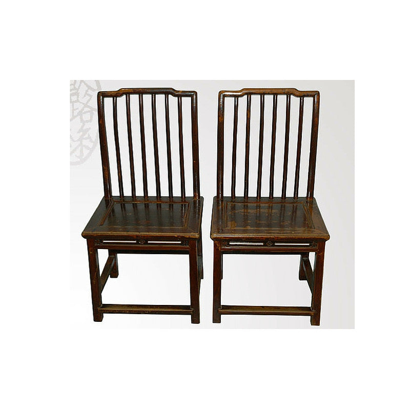 Pair of Straight Backed Antique Chairs