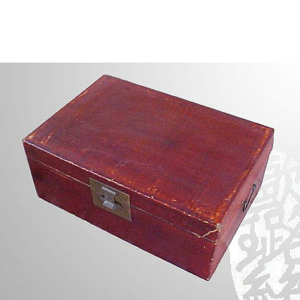 Chinese Red Large Leather Trunk with Clasp