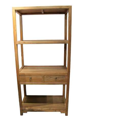 Natural Raw Wood Tone Chinese Reproduction Bookcase