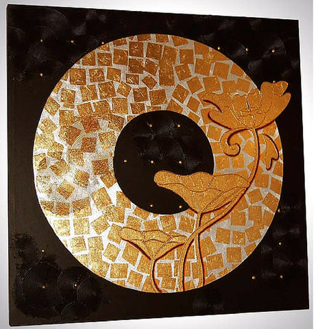 Circle of Success Gold and Silver Leaf on Canvas Acrylic