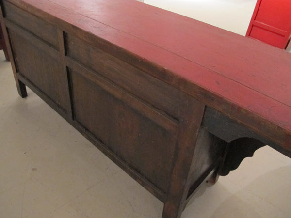 Chinese Antique Red Lacquered Sideboard