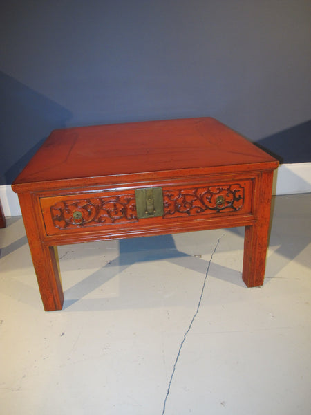 chinese antique red lacquer coffee table, with carving