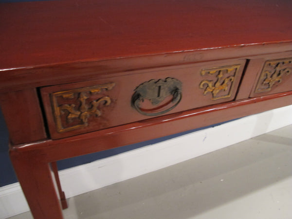Chinese Antique Red Lacquered Console Table