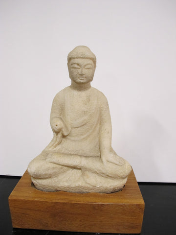 Chinese Antique Stone Kwan Yin on Base