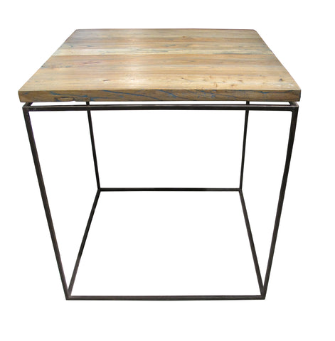 wood end table in modern industrial style