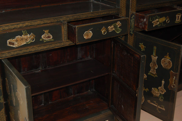 Chinese Antique Black Decorated Bookcase