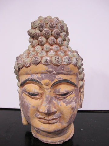 Painted Clay Antique Buddha Head