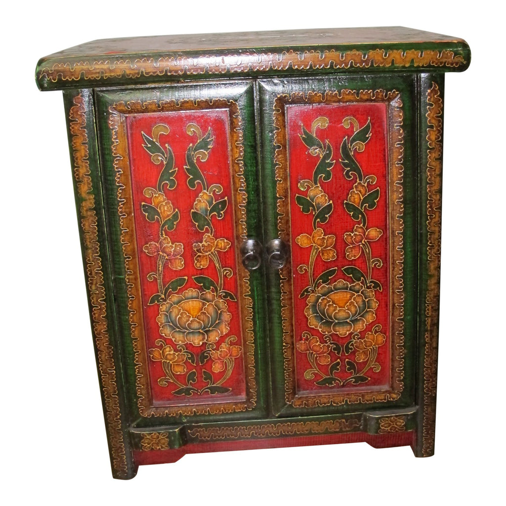 Tibetan Floral Decorated Side Chest