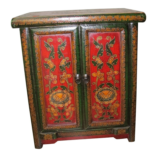 tibetan painted bedside chest