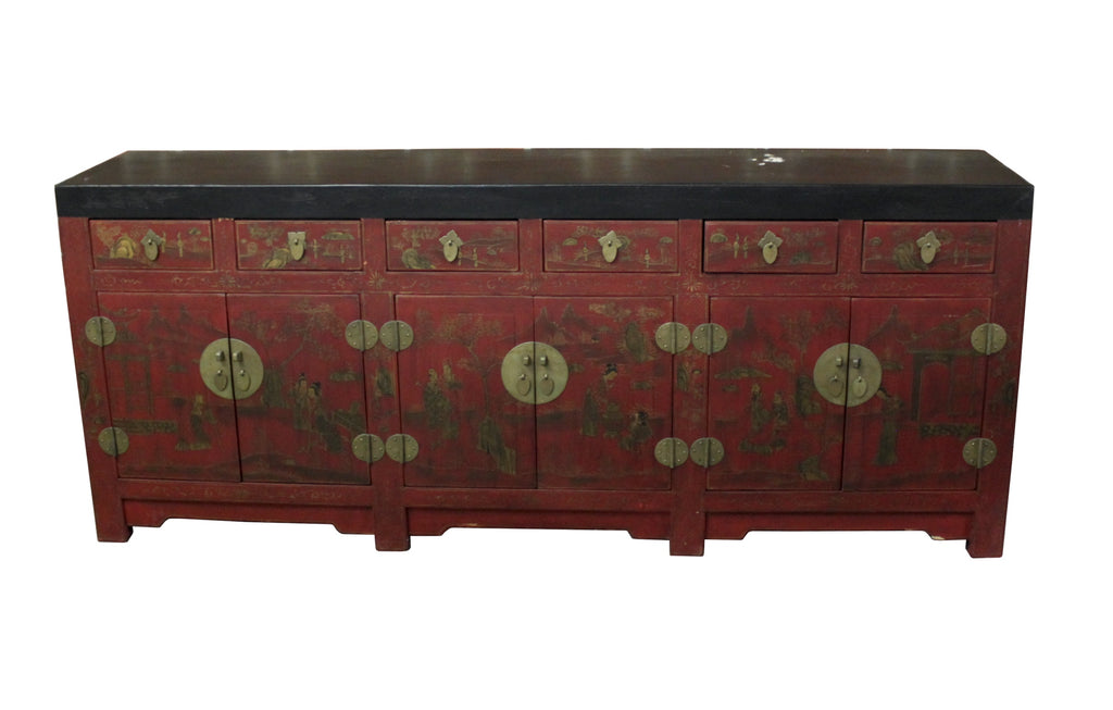 Antique Chinese Lacquered Chinoiserie Sideboard