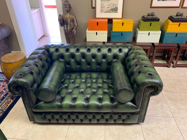 Two Seater Windsor in Antique Green Leather