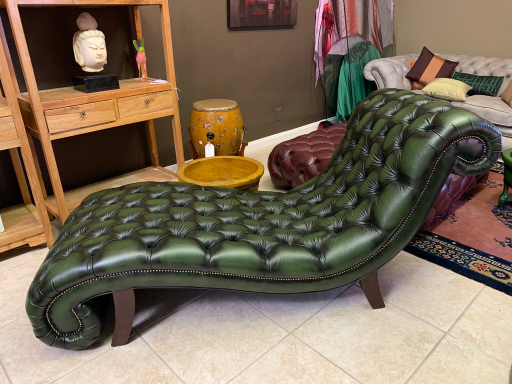 Leather Paris Chaise in Antique Green