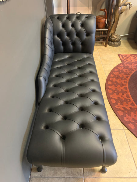 black leather chaise made in england