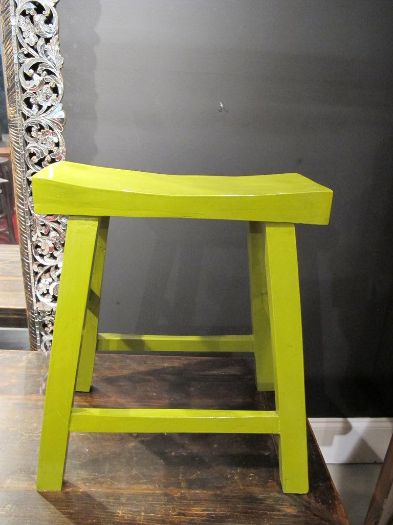 Lime Green Curved Stool